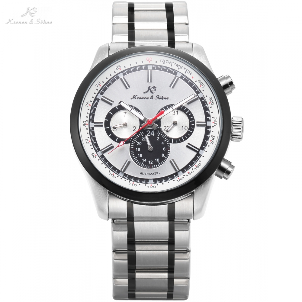 KS Brand Automatic Date Day 3 Dashboard Style White Silver Tone Strap Band Mechanical Watch Mens Gents Sport Timepieces / KS308 ks luxury automatic self wind date day 24 hours black 3 dial steel strap mechanical wrist watches mens gents timepieces ks307