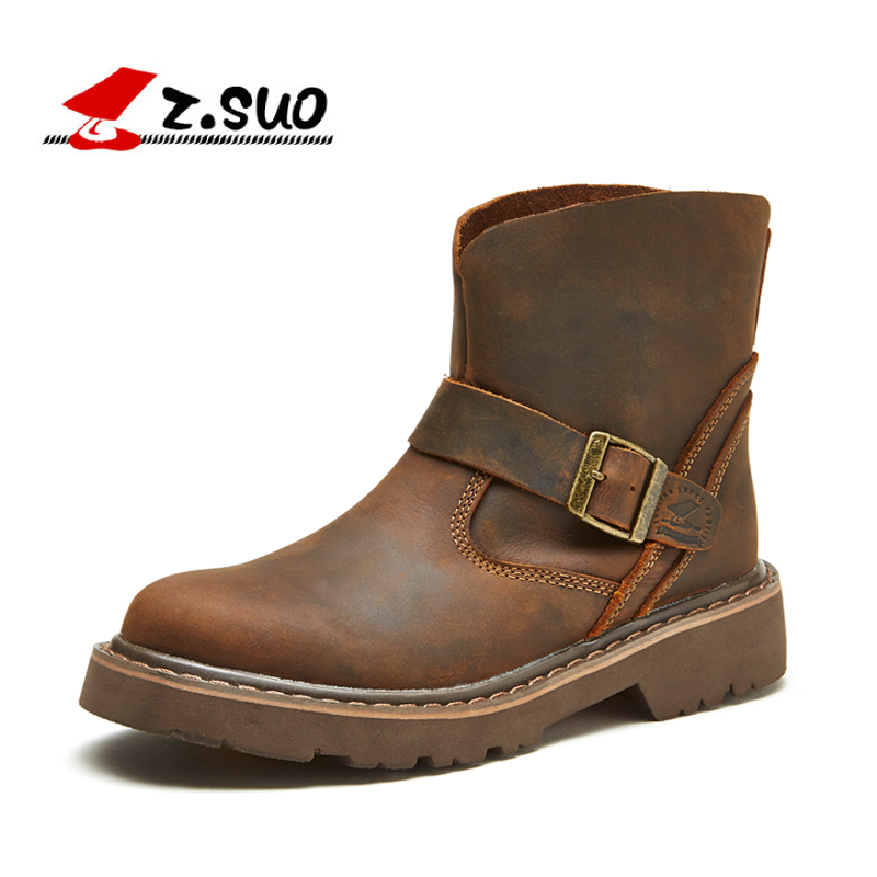 ФОТО Z. Suo women 's boots,leather boots,women in western ancient looping buckles canister boots woman