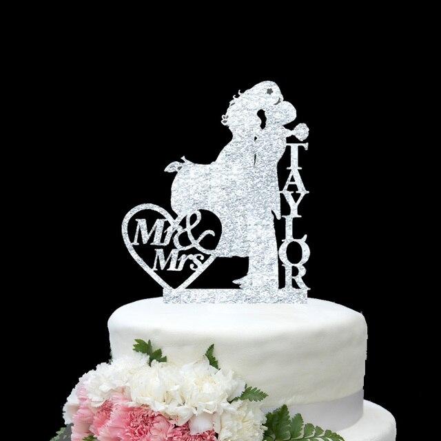 Personalisieren Nachname Silber Gold Hochzeitstorte Topper Mr Mrs