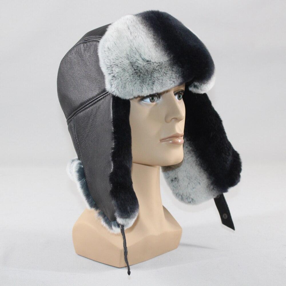 Bomber Hat Rabbit-Fur-Hats Sheepskin Snow Winter Real Genuine Male Rex Thick Warm Men