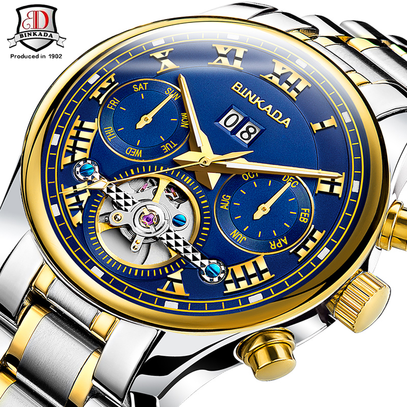 ФОТО Top Brand BINKADA Multifunction Tourbillon Automatic Mechanical Watch Luxury Brand Mens Watch 5 Hands Date Reloj Hombre