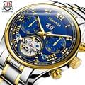 Top Marca BINKADA Tourbillon Multifunções Relógio de Marca De Luxo Mens Relógio Mecânico Automático 5 Mãos Data Reloj Hombre