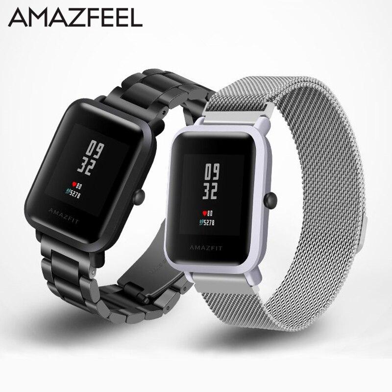 Assistir Banda para Cinta de Aço 20mm para Xiaomi Huami Amazfit Amazfit Juventude Bip Pouco Inteligente Pulseira de Relógio De Metal Em Aço Inoxidável pulseira