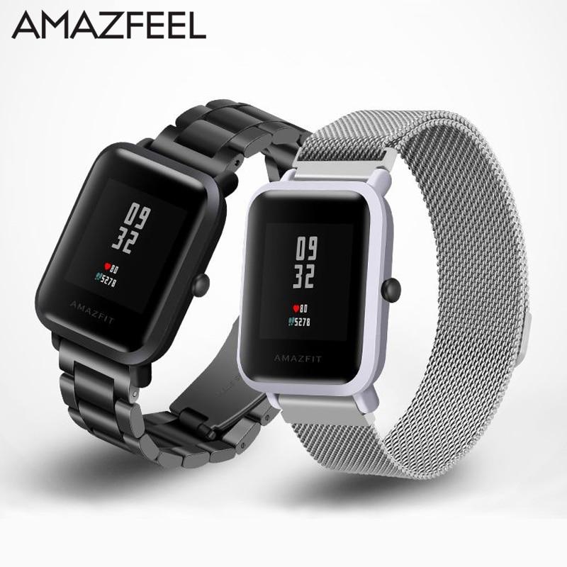 Cinturino per Amazfit Acciaio Cinturino 20mm per Xiaomi Huami Amazfit Gioventù Bip Bit Intelligente Orologio Cinturino In Metallo In Acciaio Inox braccialetto