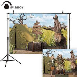 Image 1 - Allenjoy fotoğraf backdrop jungle safari aslan afrika macera arka plan photocall parti dekor fotoğraf stüdyosu fotoğraf standında