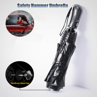 New Arrival Car Safety Hammer Sunny Rainy Fashion Creative Folding Umbrella Full Automatic Windproof Men Women Business Paragus