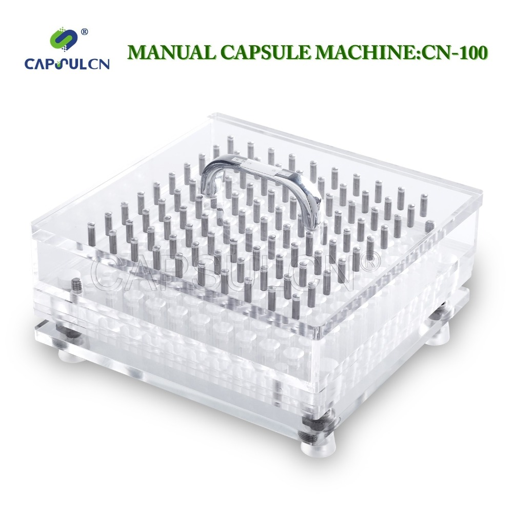 High quality manual 100 holes medicinal powder capsule filler for size 000# 5# separated capsules