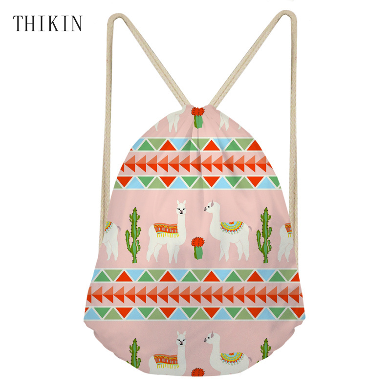 THIKIN New Cute Kid Baby Llama Aztec Pattern Sport Swimming Bags Gym Pump Bag Sports School Drawstring Boy Girl Backpack