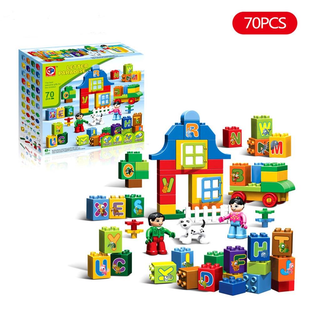 70pcs Letters Paradise Large Particles Building Blocks Educational Toys For Children Letter Bricks Compatible legoesINGly Duplo