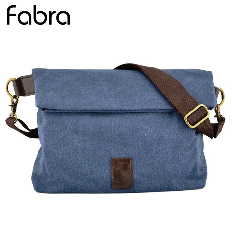 Fabra New Canvas Men Messenger Shoulder Bag England Big  Bags Simple Casual Multi-Function Vintage Mid Size Folded Bag