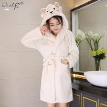 Densamente sleepwear inverno bonito quente roupões de banho das mulheres dos desenhos animados ovelhas roupão de banho plus size macio vestido de dama de honra robes feminino