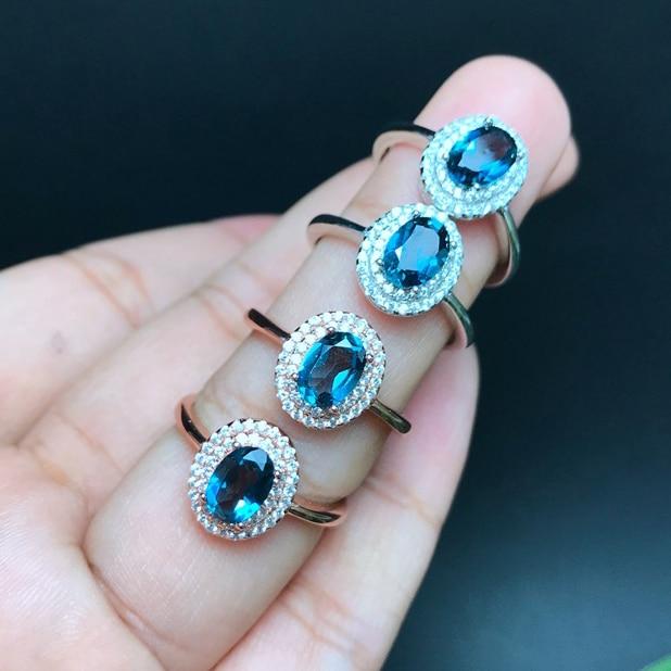 Klassische Natürliche London Blau Topas Edelstein Ring Für Frauen Echt 925 Sterling Silber Edlen Schmuck meibapj Aufstrebend
