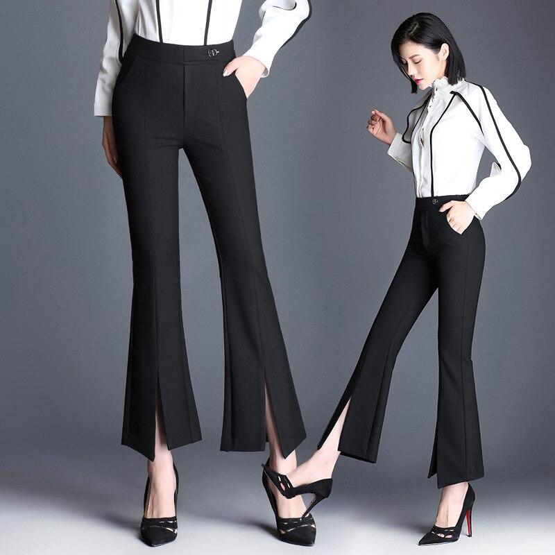 2018 Calle Ancha Nueve Pantalones Moda Pierna De Casuales Acampanado Ropa Alta Otoño Nuevo Dividido Pantalón Negro Cintura Mujeres Delgado B7Z6Zqx