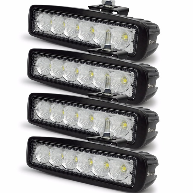 Safego 4pcs offroad off road car 18w led bar lightbar 6 led 4x4 18w safego 4pcs offroad off road car 18w led bar lightbar 6 led 4x4 18w led light aloadofball Gallery