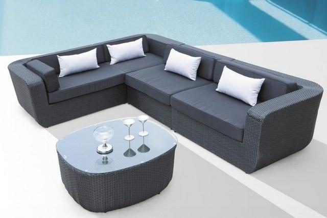 2017 Luxury Clic Home Furniture 4 Seater Rattan Corner Sofa Set