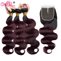 Mshere Body Wave Ombre Hair 3 /4 Bundles With Closure 1B/99J Brazilan Human Hair Weave Bundles With Closure Non Remy Hair