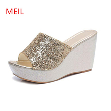 Slope With Ladies Summer Slippers 2019 High Heels Slipper Fish Mouth Sequins Thick Bottom Crystal Shoes Women Sandals Slippers slope with super high heels sexy transparent diamond beaded sequined flowers fish head shoes lace summer sandals and slippers