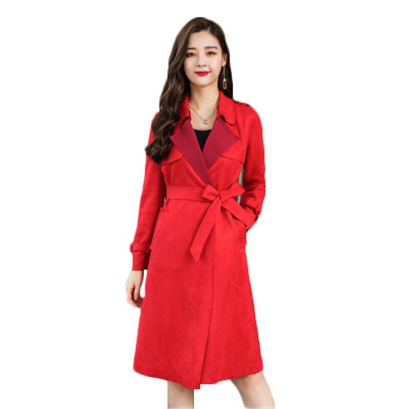 New Winter Jacket Big Size Slim Women's Costumes slim   suede   women's windbreaker long casual large size female   Leather   Coat J822