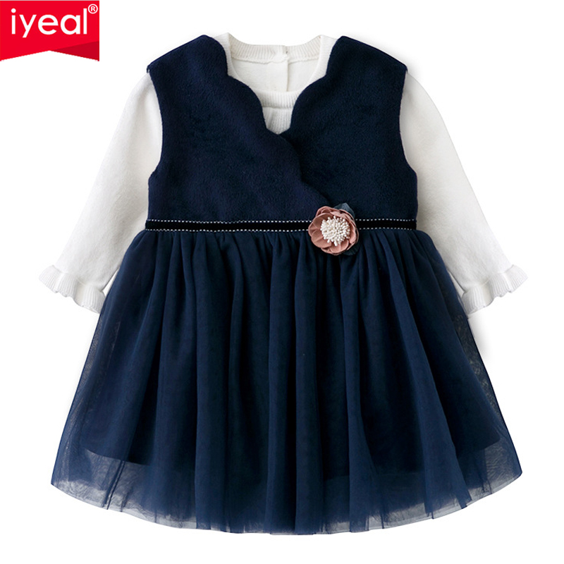 IYEAL Princess Girl Clothes Navy Sleeveless Winter Woolen Dress 1 Year Baby Birthday With Sweater Girls Clothing