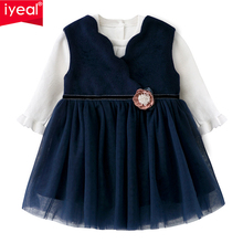 IYEAL Princess Girl Clothes Navy Sleeveless Winter Woolen Dress 1 Year Girl Baby Birthday Dress With Sweater Baby Girls Clothing цена 2017