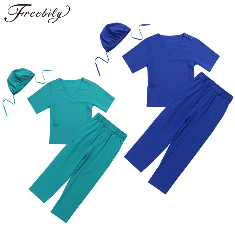 Unisex Girls Boys Halloween Costumes Surgeon Sets Doctor Cosplay Stage Wear Clothing Children Kids Party Clothes Age 2-14