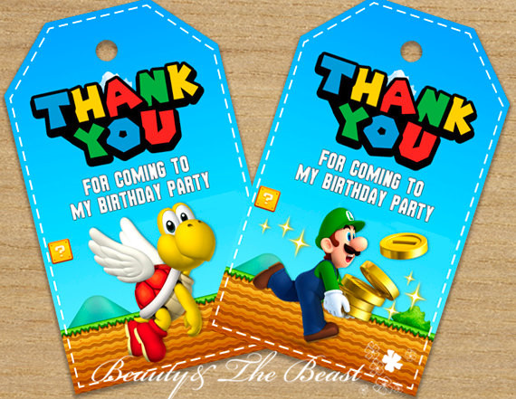 Super Mario Favor Tags, Thank You Tags,Super Mario Bros Gift Favors,  Birthday Party Decorations Kids, Party Supplies Baby Shower In Party DIY  Decorations ...