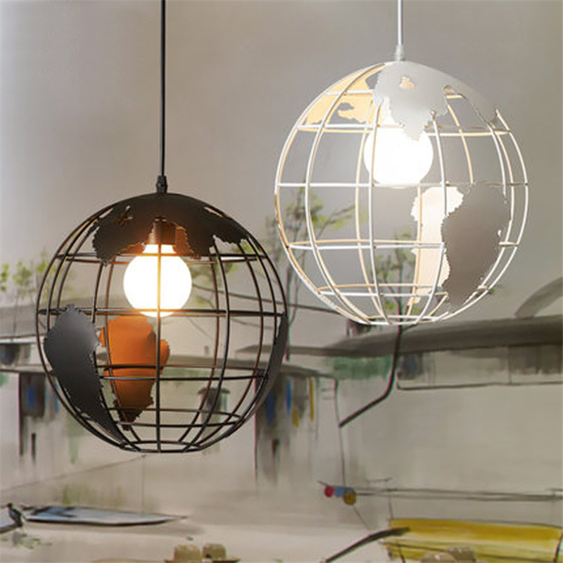 E27 Retro Iron Creative Counter Pendant Lamp Western Personalized aisle Globe Pendant Light for Restaurant Coffee bar Bedroom