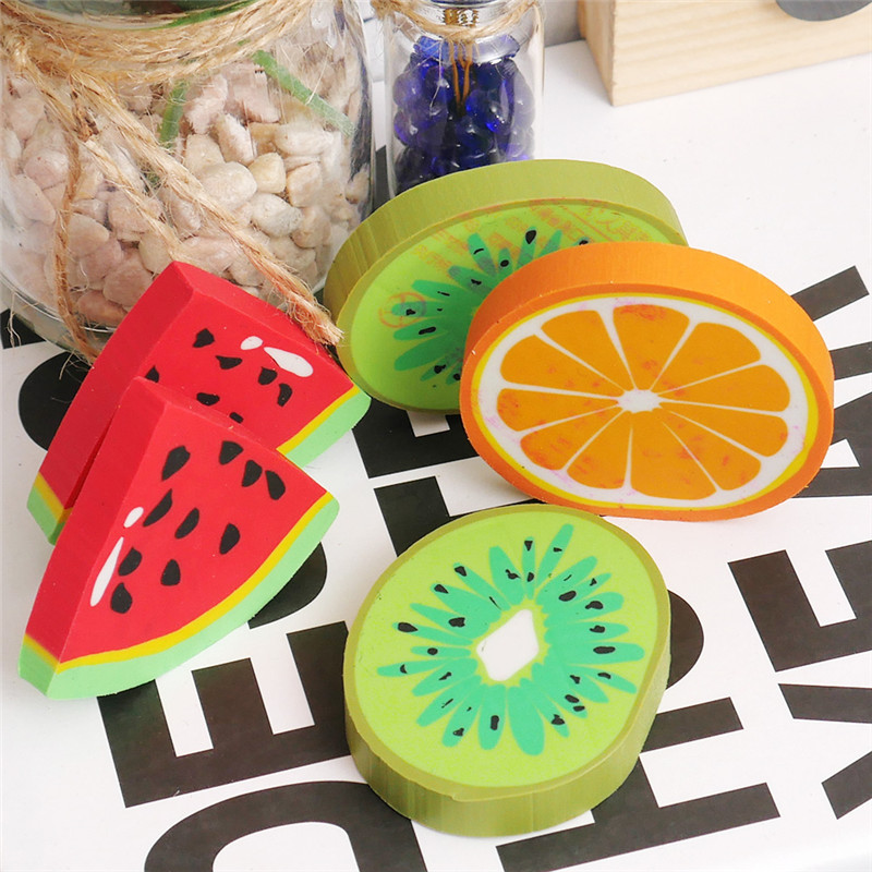 Cute Fruit Eraser School Supplies Fruit Rubber Kawaii Watermelon Oranges Kiwi Erasers For Kids