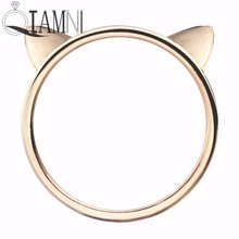 QIAMNI Lovely Cat Bear Ear Pattern Finger Rings Cool Midi Kitty Wedding Ring Sweet Jewelry Gift for Women and Girls(China)