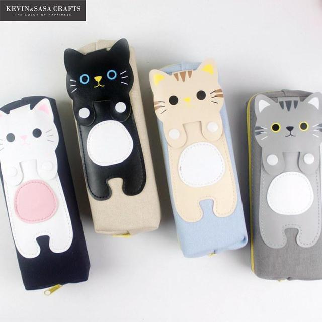 Пенал Kawaii кошки Pencilcase канцелярские школьные принадлежности карандаши хранения Bts пеналы школьные питания