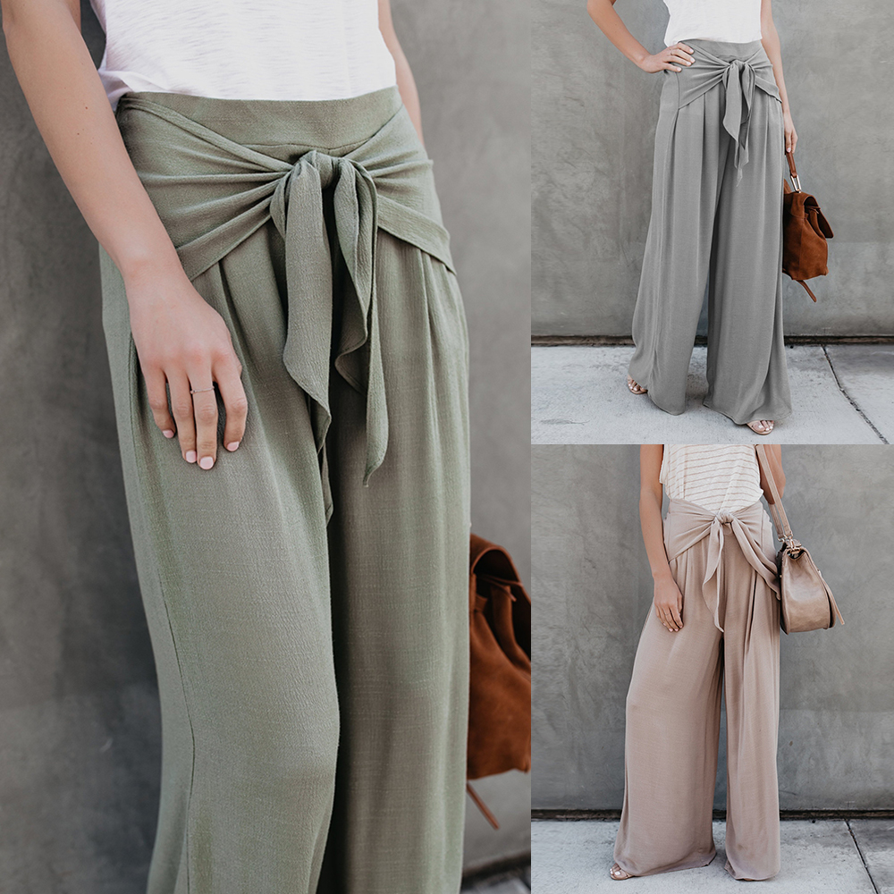 Plus Size Women High Waist Belted   Wide     Leg     Pants   Loose Casual Trousers Female Bottoms Solid Office Ladies   Pants