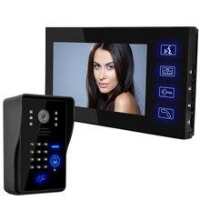 "Multifunctional HD 7"" TFT Color Video door phone Intercom Doorbell System Kit IR Camera doorphone monitor Speakerphone intercom"