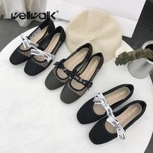 Wellwalk Black Flat Shoes Women Ballerina Flats Ladies Slip-on Shoes Female Ballet Flats Women Shoes Korean Style Ballerinas