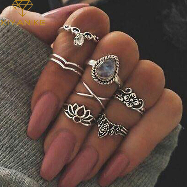 XIYANIKE 2017 Hot Sale 7 Pieces/Lot Hollow Natural Stone Water Droplets Knuckle