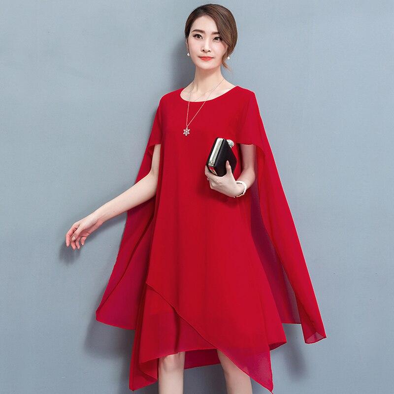 YICIYA Chiffon cabo vestido elegante Jantar formal vestidos para as mulheres plus size 4xl 5xl verão 2019 partido robe nobre vermelho roupas