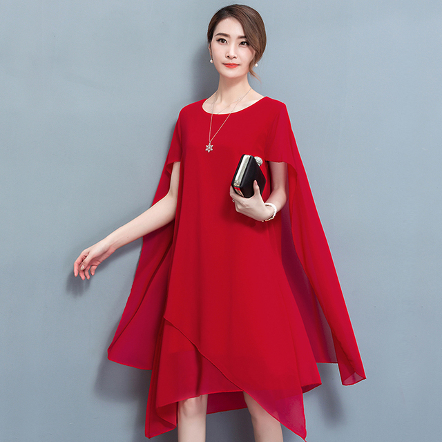 e3e9c2f0ad3b YICIYA Chiffon cape dress elegant formal Dinner dresses for women plus size  4xl 5xl summer 2019 robe party noble red clothing