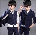 2016 весна осень детская одежда формальные длинный рукав хлопок мальчик блейзеры костюмы для мальчиков детские наборы 3 шт. жилет + пальто + брюки