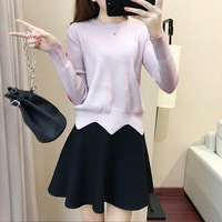 2017 Autumn Winter Fashion Knitted Mini Skirt Suit 2 Piece Set Women A-line Pullovers And Sweater And Short Tutu Skirts Suit