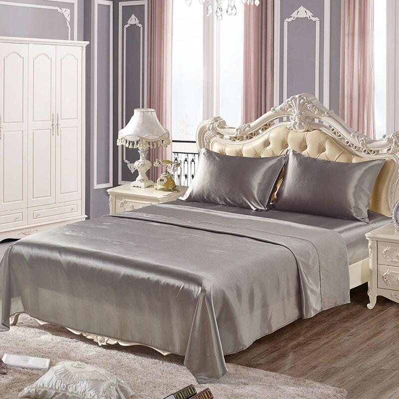 Conjuntos de lençóis de cetim de seda macia EUA Twin/Queen/King completa tamanhos 4 pçs/set colcha de Cama de cor sólida cama definir sabanas juegos