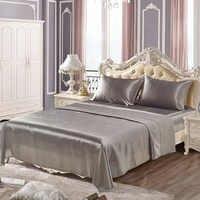 Juego de sábanas de seda suave satén US Twin/Queen/King tallas completas ropa de cama de color sólido 4 unids/set colcha juego de cama sabanas juegos