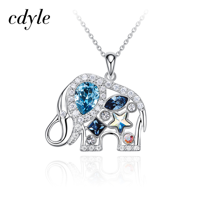 6594c9728 Cdyle Crystals from Swarovski Women Cute Animal Necklace 925 Sterling  Silver Elephant Pendants Blue Rhinestone Jewelry