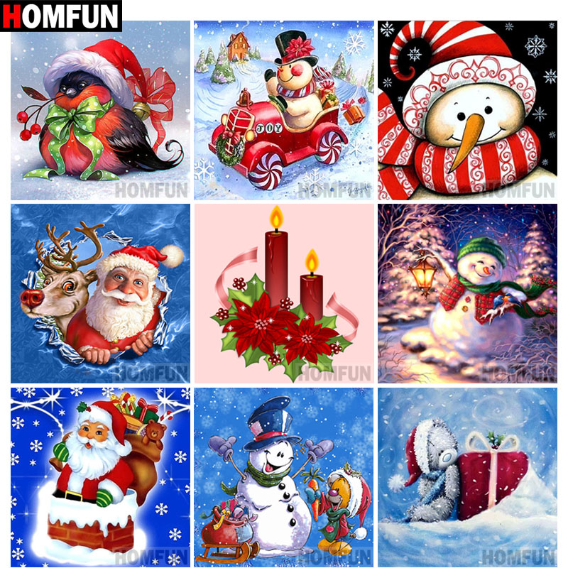 HOMFUN Christmas Card Gift Full Square/Round Drill 5D DIY Diamond Painting 3D Embroidery Cross Stitch 5D Home Decor A14456