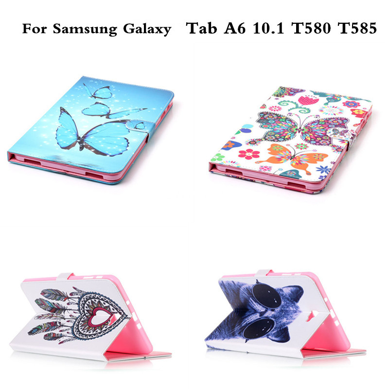 Flip Cover Tablet Stand Case For Samsung Galaxy Tab A A6 10.1 T580 T585 sm-t580 SM-T585 Fashion PU Leather Cover with Card Slots cover case for huawei p9 lite half a face of a cat pu tpu leather with stand and card slots magnetic closure