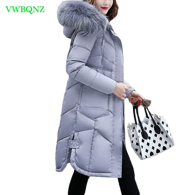 New Winter Jacket Women Long Down cotton jacket Women   Parka   Big Fur Collar Hooded cotton Coat Womens Jackets Coats Outerwear A93