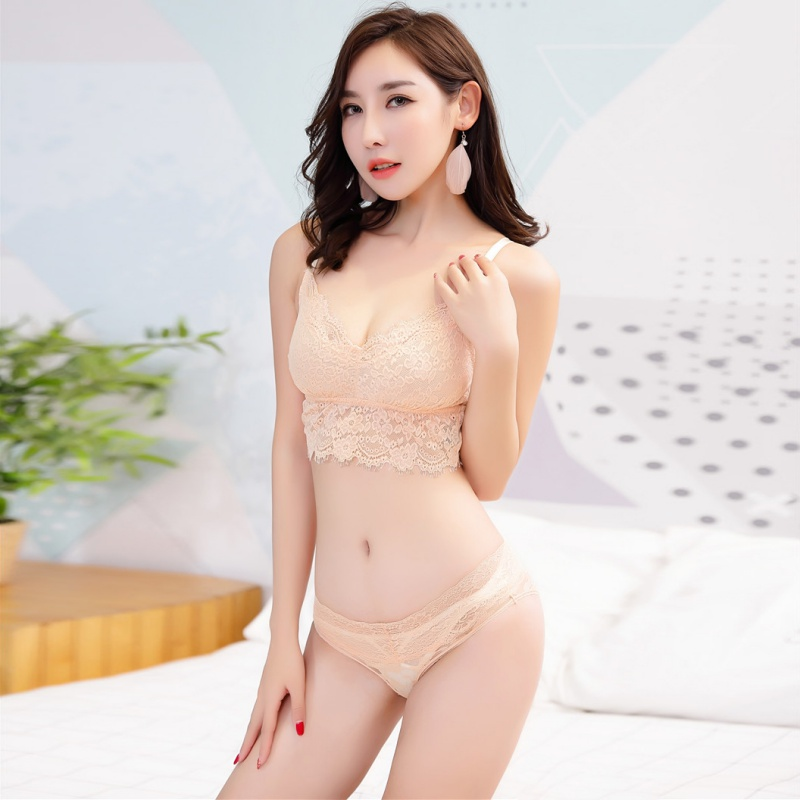 Women   Bra   &   Brief     Sets   Embroidery Floral Transparent Lace Sexy   Bra     Set   Wire Free Ultra-thin   Bra   and Panties Sexy Lingerie