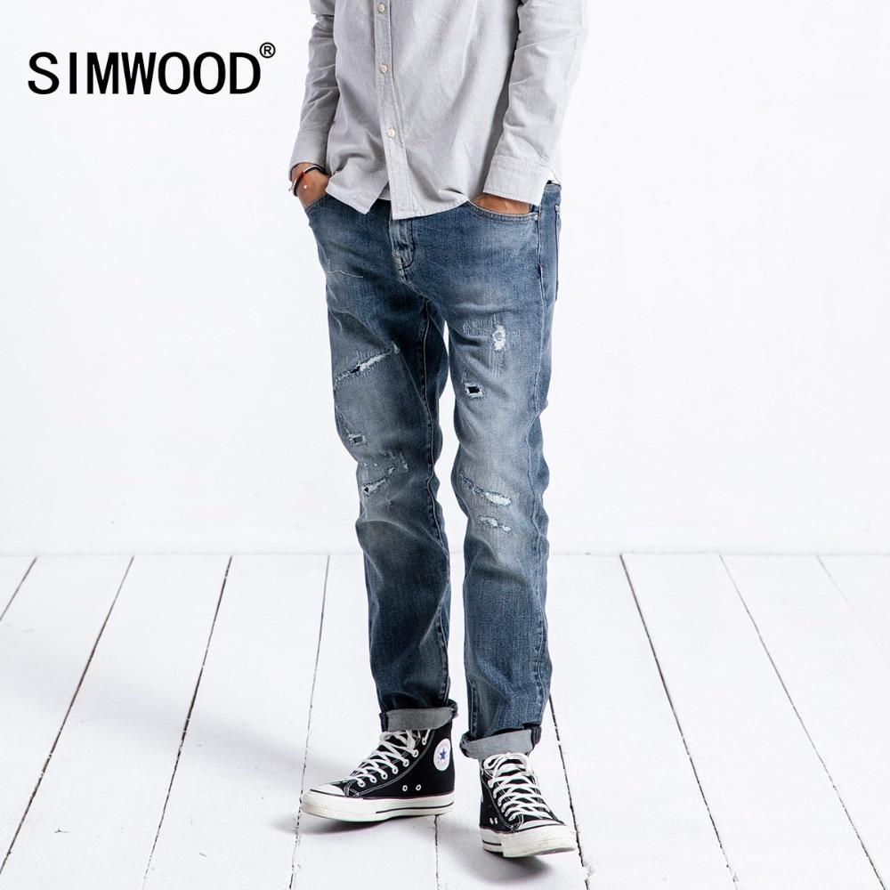 SIMWOOD Brand   Jeans   Men Fashion Casual Hole Denim Trouser Slim Plus Size High Quality hip hop streetwear Clothes Pants 180340