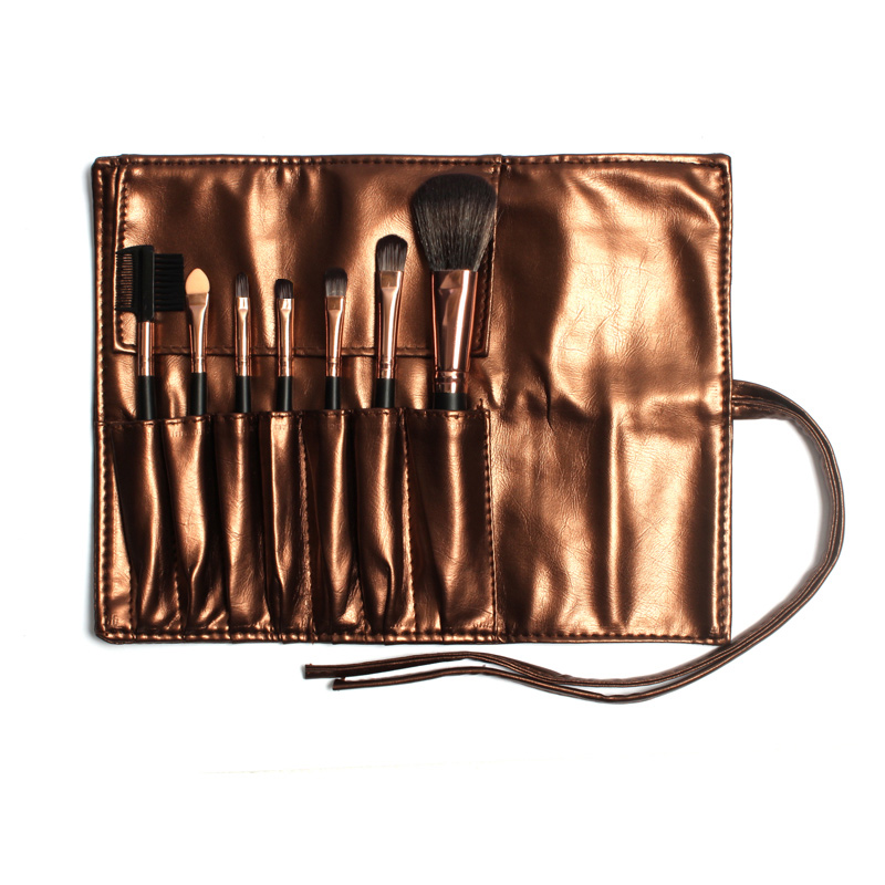 FOCALLURE High Quality 7 Makeup Brushes Set Kit in Brown Leather Bag Portable Make up Brushes