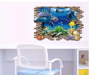 Image 5 - Дельфин черепаха Seastars морской мир 3D креативный настенный стикер для украшения дома кухни дома DIY настенные наклейки синий Декор