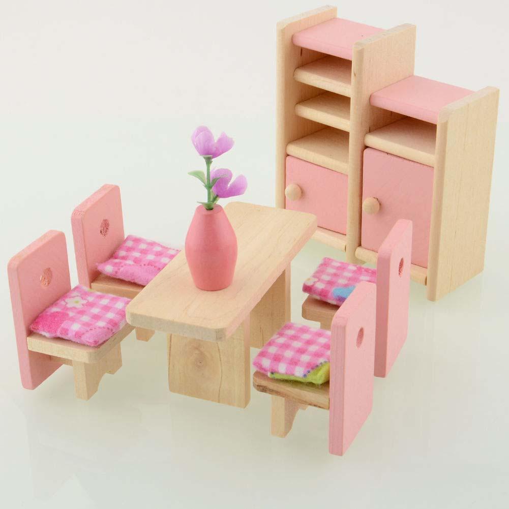 Madera Miniatura Comedor De Muñecas Casa Muebles dxCBeor