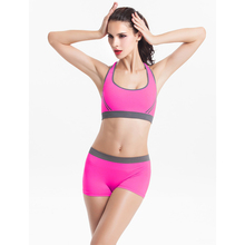 Women's Fitness Workout Seamless Padded Red and black color Bra Set, Bra + Shorts Set
